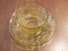"Collectibles - Vintage Federal's ""Cabbage Roses"" Depression Glass Cup and Saucer Set by Federal"