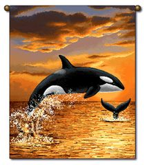 "Tapestry - ""Beach - Sunset Orca"" - Small Banner, 13x18"
