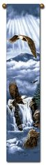 "Tapestry - ""Birds - Eagle Flight"" - Hanging Bell Pull, 8.5x40"