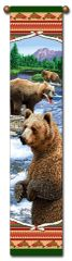 "Tapestry - ""Bears - Lodge Bears"" - Hanging Bell Pull, 8.5x40"