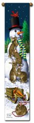 "Tapestry - ""Christmas, Snow Bunnies"" - Hanging Bell Pull, 8.5x40"