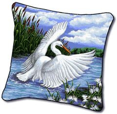 "Tapestry - ""Birds - Egret"" - Pillow, 18""x18"""
