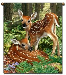 "Tapestry - ""Deer - The Twins"" - Large Wall Hanging, 27x36"