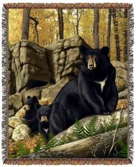 "Tapestry - ""Bears - Den Mother"" - Afghan, 53x67"