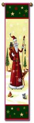 "Tapestry - ""Christmas, Old Timey Santa"" - Hanging Bell Pull, 8.5x40"