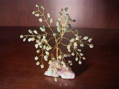 "Collectibles - Jade Gem ""Feng Shui Tree"" on Beautiful Purple Amethyst Rock Geode Slice base"