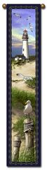 "Tapestry - ""Beach - Lighthouse"" - Hanging Bell Pull, 8.5x40"