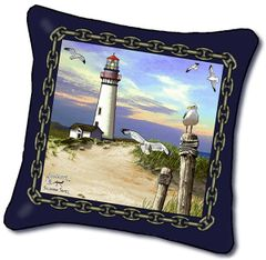 "Tapestry - ""Beach - Lighthouse"" - Pillow, 18x18"
