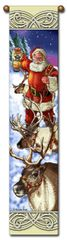 "Tapestry - ""Christmas, Reindeer"" - Hanging Bell Pull, 8.5x40"