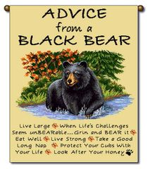 "Tapestry - ""Bears - Advice From A Bear"" - Small Banner, 13x18"