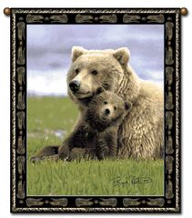 "Tapestry - ""Bears - Boyd Norton Grizzlies"" - Large Wall Hanging, 27x36"