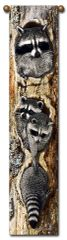 "Tapestry - ""Raccoons - Full House"" - Hanging Bell Pull, 8.5x40"