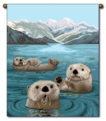 "Tapestry - ""Beach - Otters"" - Small Banner,13x18"