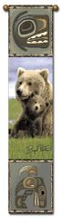 "Tapestry - ""Bears - Boyd Norton Grizzlies"" - Hanging Bell Pull, 8.5x40"