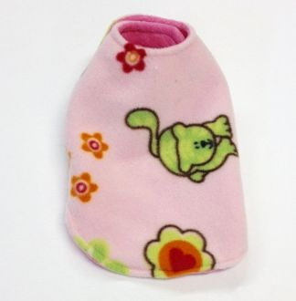 Pink with Green Cat Reversible Pet Coat - Extra Small