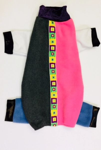 Pink and Gray Fleece w/Ribbon Trim Pet Jammies - Roomy Medium