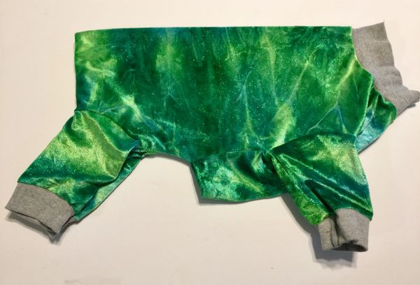 Sparkly Green Velour Pet Jammies - Roomy Large