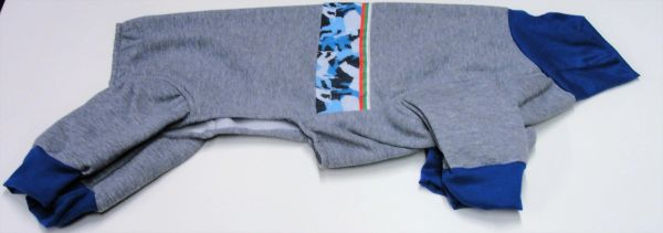 Grey w/ Blue white and Black Camo Fleece Pet Jammies - Roomy Assorted Sizes