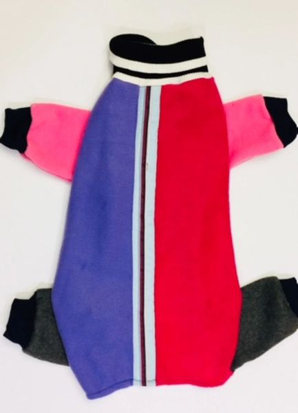 Fuchsia and Purple Fleece w/Ribbon Trim Pet Jammies - Roomy L, XL