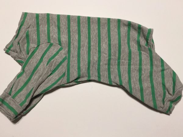 Green and Gray Striped Pet Tee Jammie - Standard Small