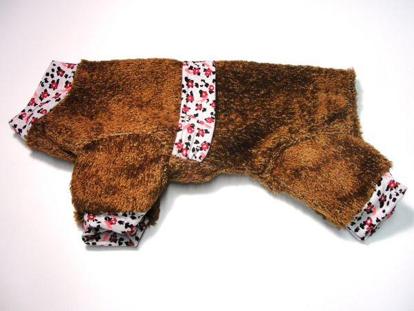 Brown Fuzzy Fleece Pet Jammies - Roomy Small