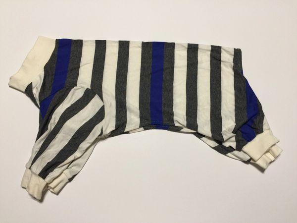 Gray, White & Blue Stripe Pet Tee Jammie - Standard Medium