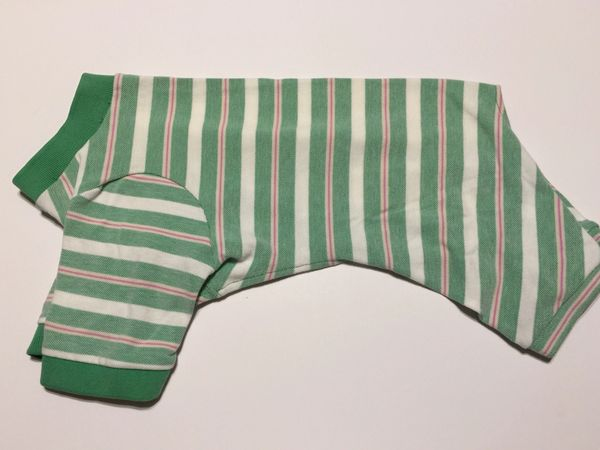 Green Stripe Pet Polo Jammie - Standard Medium