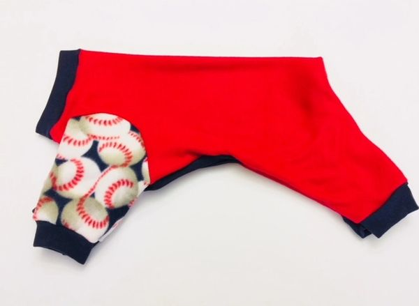 Red with Baseball Sleeves Fleece Pet Jammie - Standard Small and Medium