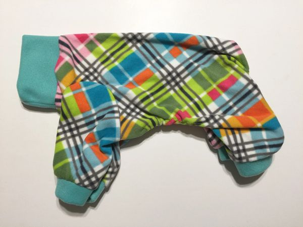 Plaid With Teal Trim Pet Jammie - Standard Sizes Extra Small, Medium
