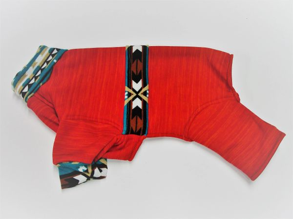 Red with Southwest Trim Sweatshirt Jammies - Roomy Assorted Sizes