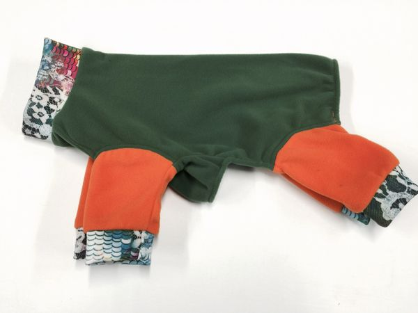 Green and Orange Micro Fleece Jammies - ROOMY ASSORTED SIZES
