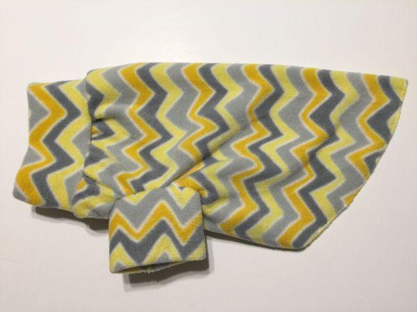 Gray and Yellow Chevron Fleece Pet Shirt - Medium