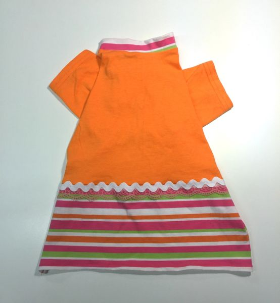 Orange Tee Dress with Striped Skirt - Medium