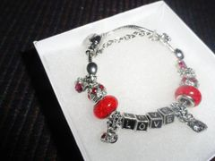Luxury Silver Plated Pandora Crystal Love Bracelet