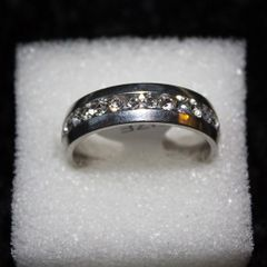 Ring - Mens 18k white Gold Plated Diamond Ring / Size: 11