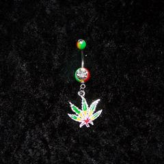 Green Yellow Red Leaf Belly Ring