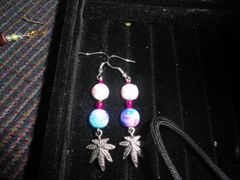 Sterling silver breast cancer marijauna leaf earrings