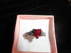 Antique 10K Black Gold filled Heart Red Ruby & Chrystal Engagement ring