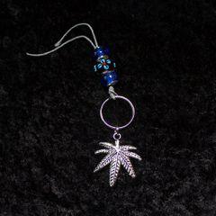 Small Marijuana Leaf Keychain with Blue Flower Bead
