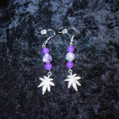 .925 Sterling Silver Purple Marijuana Leaf Earrings