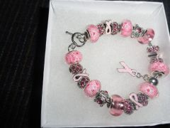Sterling Silver Pandora/Murano Glass and Crystal Pink Charm Bracelet