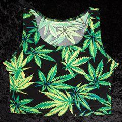 Womens Marijuana Leaf Crop Top