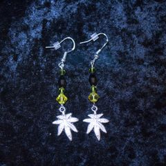 Marijuana Leaf Earrings, Yellow & Black