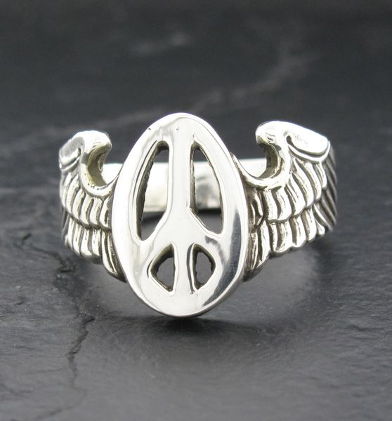 Winged Peace Sign Ring Alfred Albrizio Inc Sterling Assault Cest