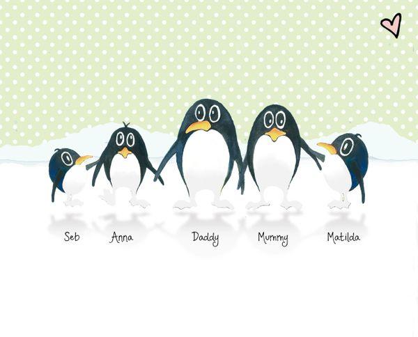 Personalised Penguin animal family name portrait print corkymandle
