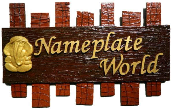 Npw1064 Wood Brown Nameplate For Apartment