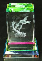 AIE RAINBOW COLOR LASER CUT CRYSTAL HUMMINGBIRD