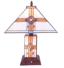 "17"" Geometric Tiffany Lamp"