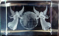 AIE LASER CUT CRYSTAL ANGEL W/ GLOBE