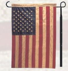 "American Flag Tea Dyed Applique & Embroidered 12"" x 18"" Garden Flag"
